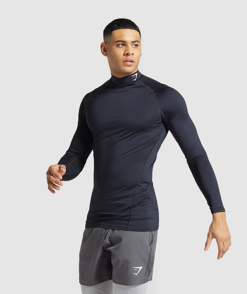 Gymshark Element Baselayer Long Sleeve High Neck T-shirt - Black 1