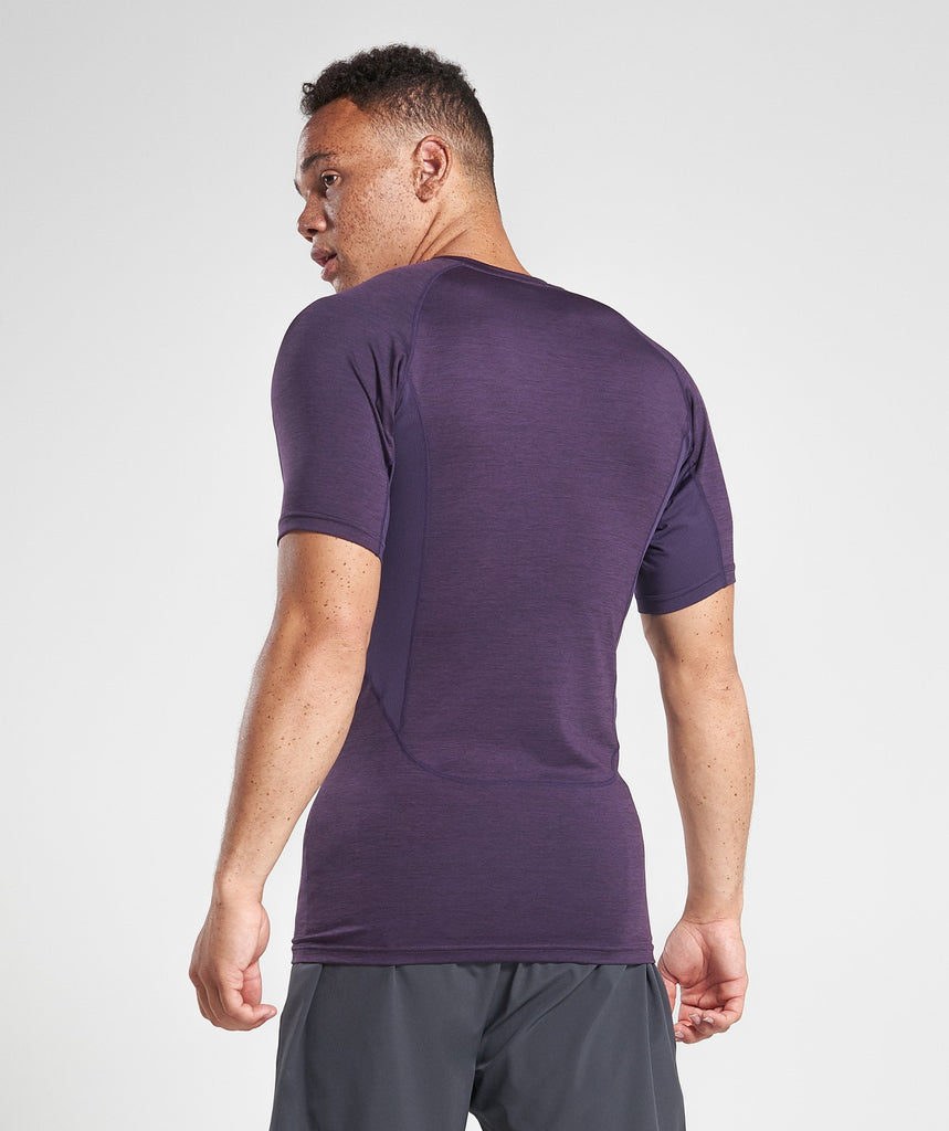 Gymshark Element Baselayer Short Sleeve Top - Nightshade Purple Marl 2