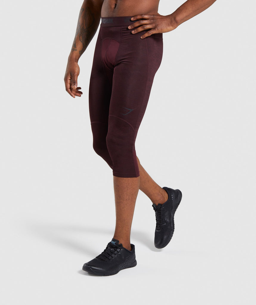 Gymshark Element+ Baselayer 3/4 Leggings - Ox Red Marl 1