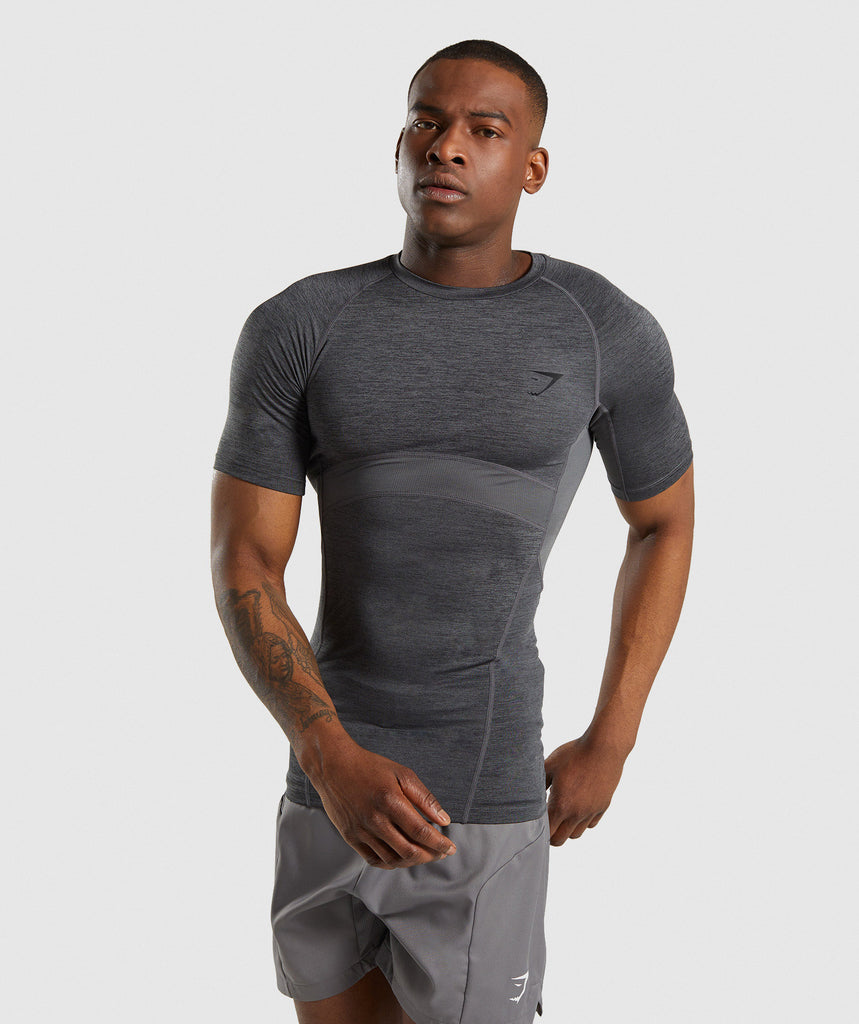 Gymshark Element+ Baselayer T-Shirt - Black Marl 1