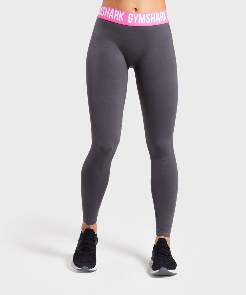 Gymshark Fit Leggings - Charcoal/Pink 1