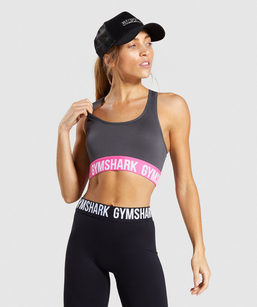 Gymshark Fit Sports Bra - Charcoal/Pink 1