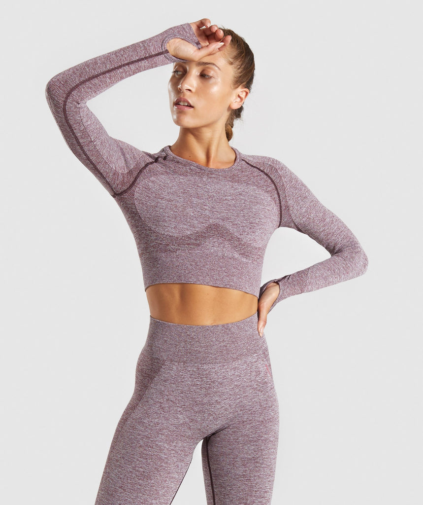 Gymshark Flex Sports Long Sleeve Crop Top - Berry/Rose 1