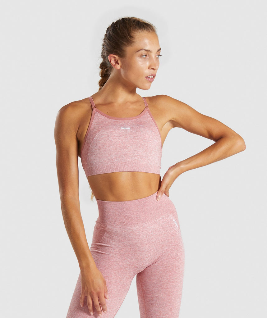 Gymshark Flex Strappy Sports Bra - Pink/White 1