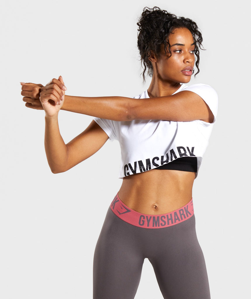 Gymshark Fraction Crop Top - White/Black 1