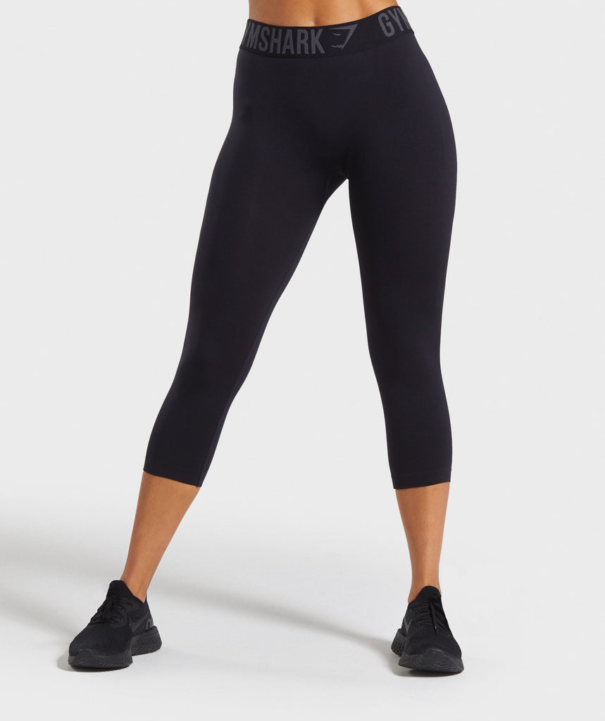 Gymshark Fit Cropped Leggings - Black/Black 1