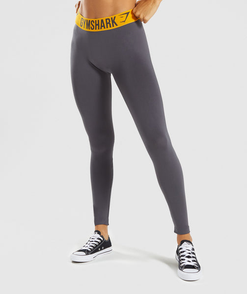 Gymshark Fit Leggings - Charcoal/Citrus Yellow 4