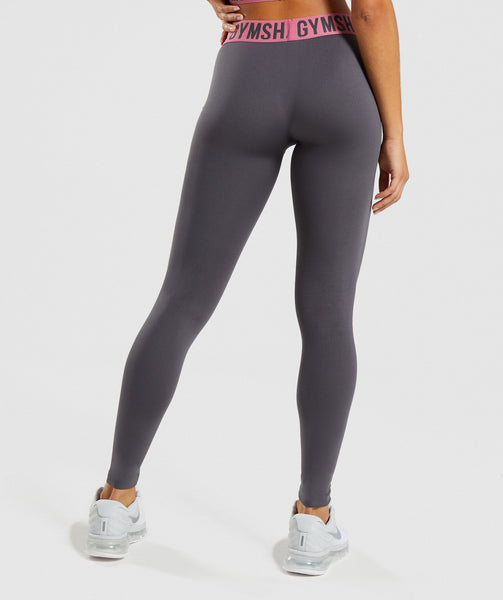 Gymshark Fit Leggings - Charcoal/Dusky Pink 4
