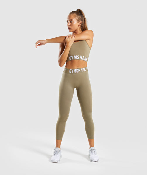 Gymshark Fit Cropped Leggings - Washed Khaki/White 3