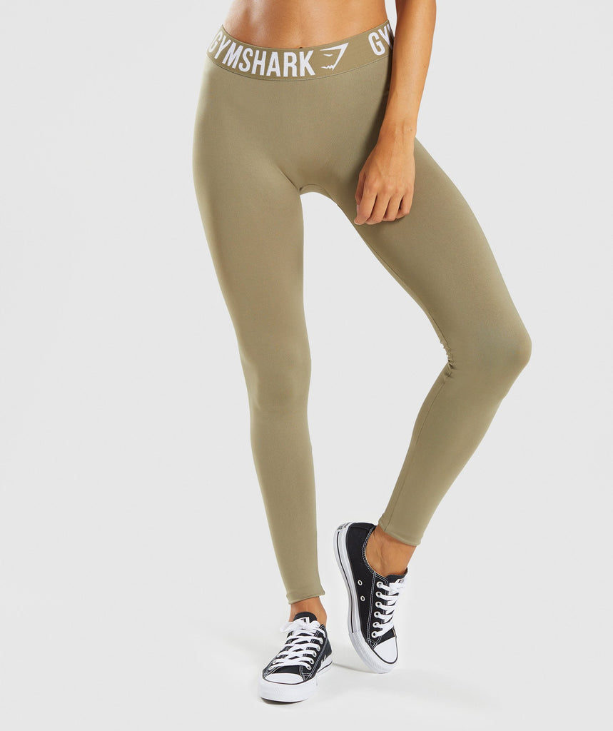 Gymshark Fit Leggings - Washed Khaki/White 1
