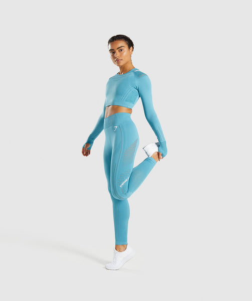 Gymshark Flawless Knit Long Sleeve Crop Top - Sea Blue 3