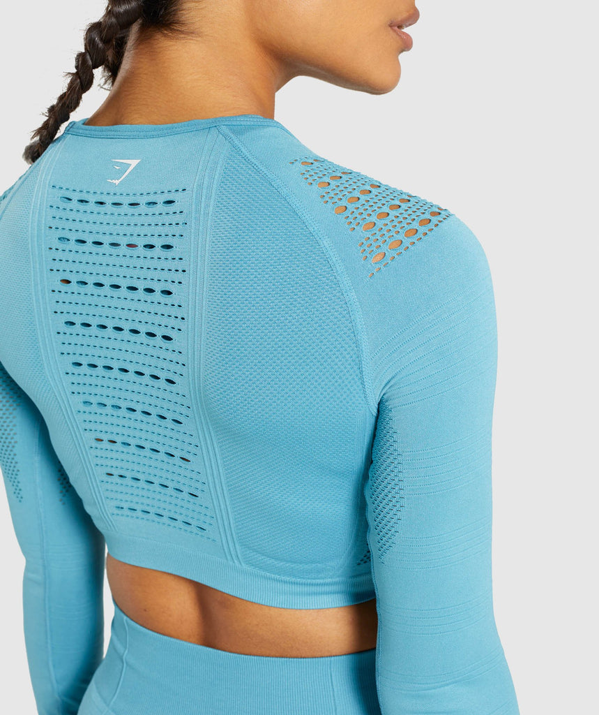 Gymshark Flawless Knit Long Sleeve Crop Top - Sea Blue 5