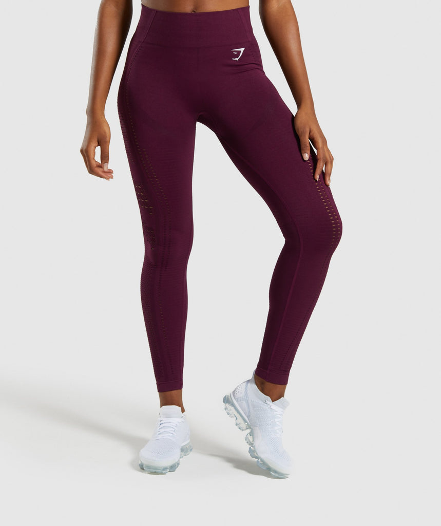 Gymshark Flawless Knit Tights - Ruby 1