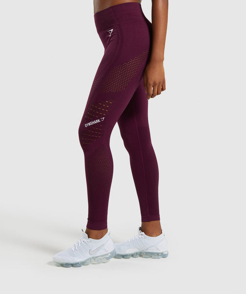 Gymshark Flawless Knit Tights - Ruby 2