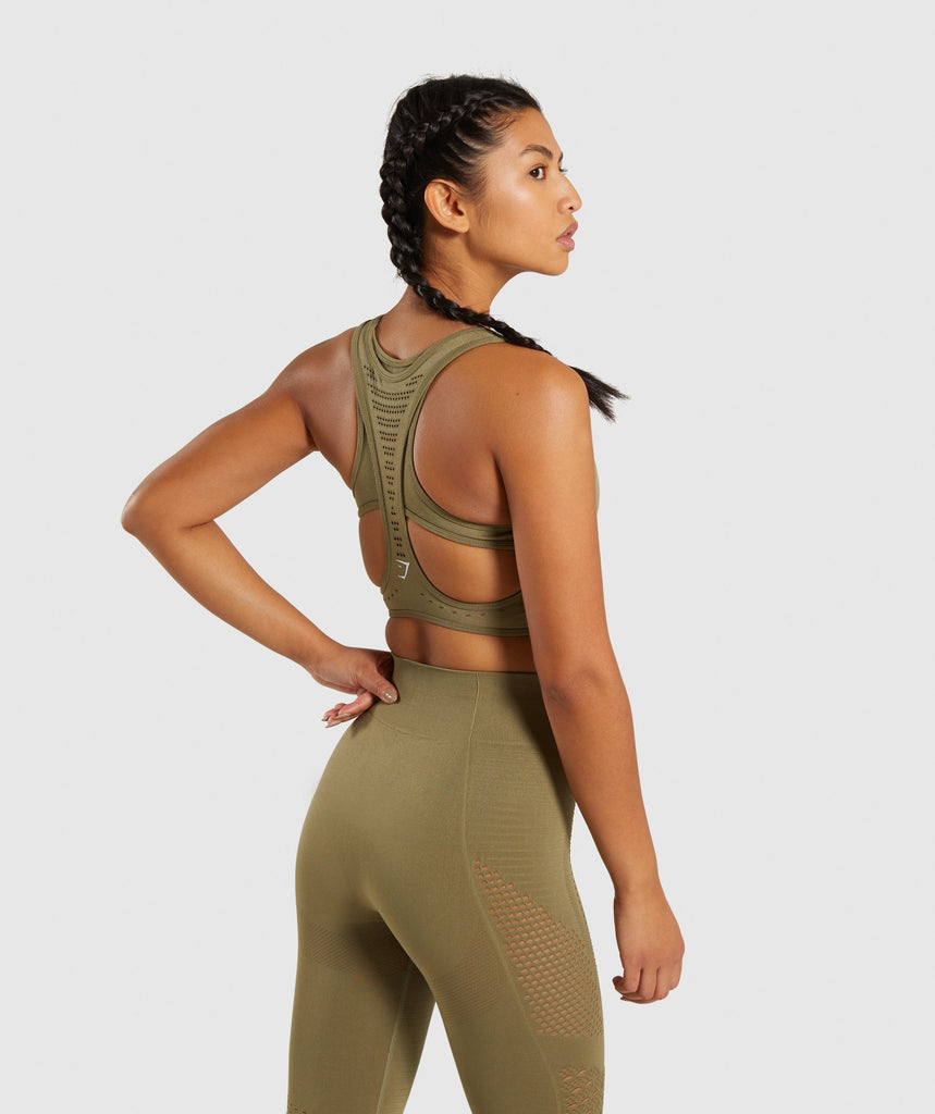 Gymshark Flawless Knit Sports Bra - Khaki 2