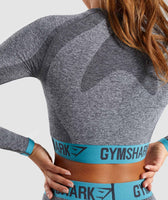Gymshark Flex Long Sleeve Crop Top - Charcoal Marl/Dusky Teal 12