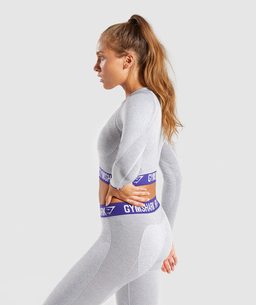 Gymshark Flex Long Sleeve Crop Top - Light Grey Marl/Indigo 2