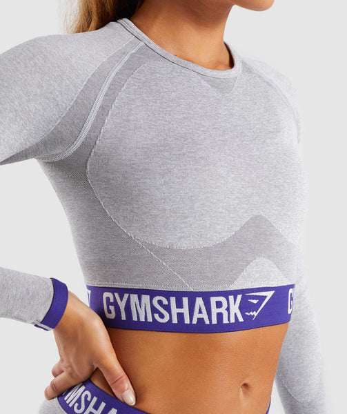 Gymshark Flex Long Sleeve Crop Top - Light Grey Marl/Indigo 4