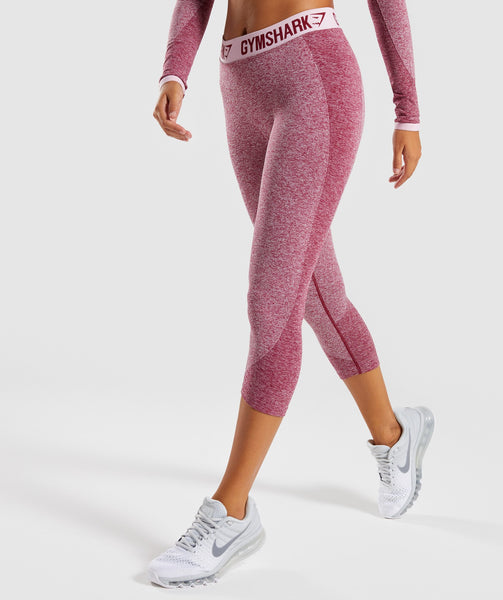 Gymshark Flex Cropped Leggings - Beet Marl/Chalk Pink 4