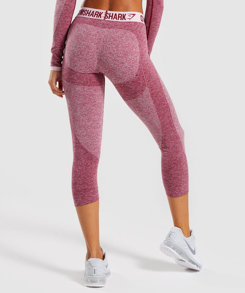Gymshark Flex Cropped Leggings - Beet Marl/Chalk Pink 1