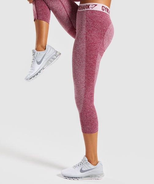 Gymshark Flex Cropped Leggings - Beet Marl/Chalk Pink 2