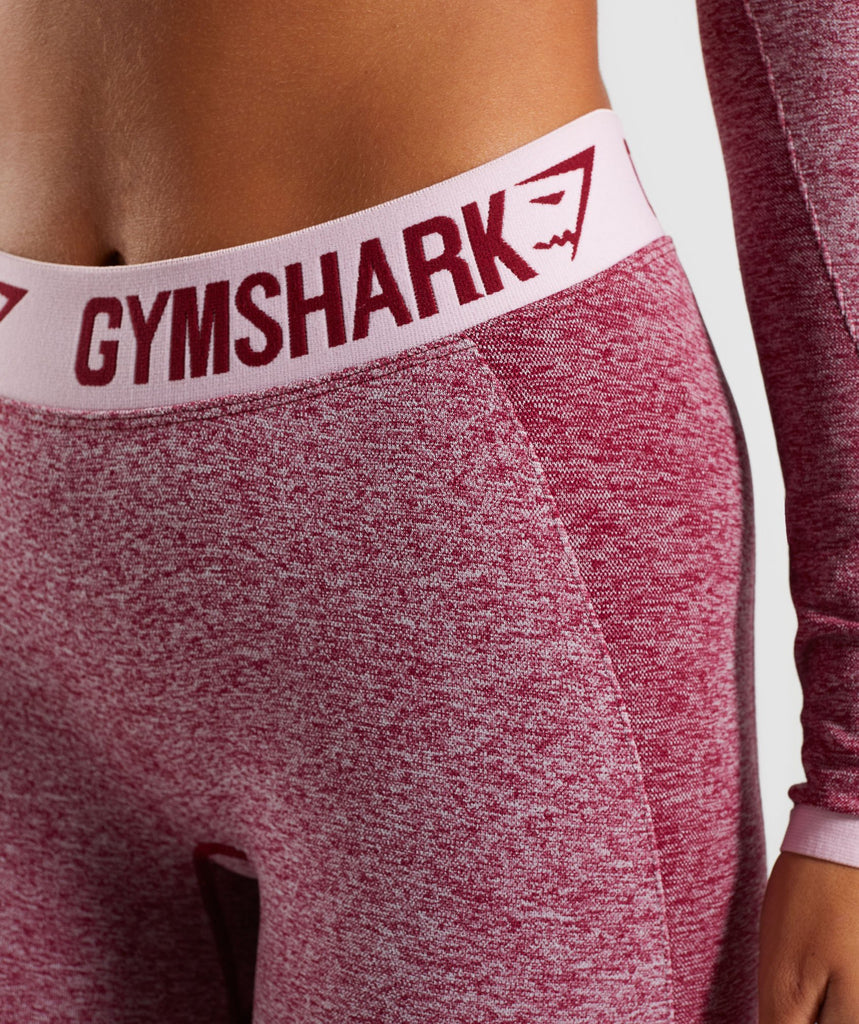 Gymshark Flex Cropped Leggings - Beet Marl/Chalk Pink 5