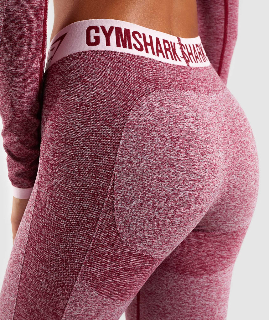 Gymshark Flex Cropped Leggings - Beet Marl/Chalk Pink 6