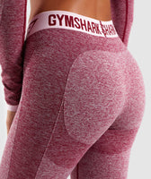 Gymshark Flex Cropped Leggings - Beet Marl/Chalk Pink 12