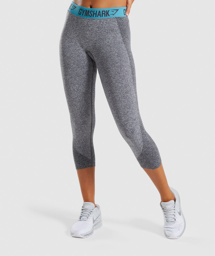 Gymshark Flex Cropped Leggings - Charcoal Marl/Dusky Teal 1