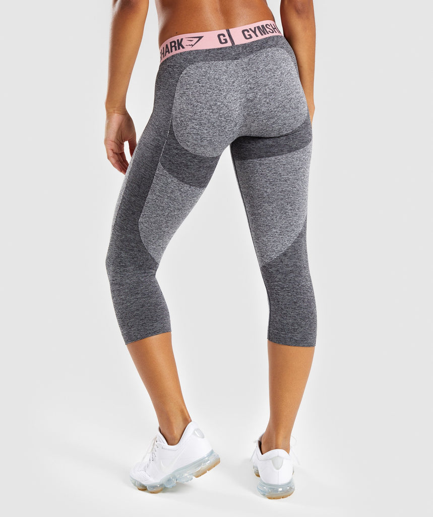 Gymshark Flex Cropped Leggings - Charcoal Marl/Peach Pink 2