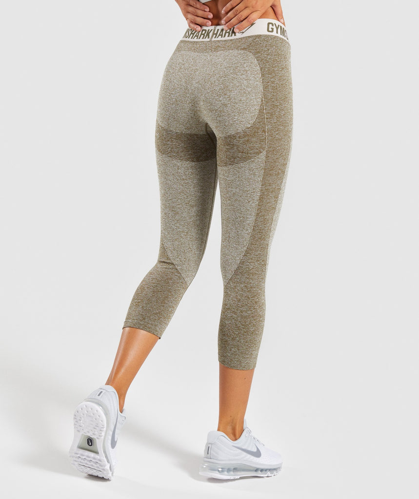 Gymshark Flex Cropped Leggings - Khaki/Sand 2