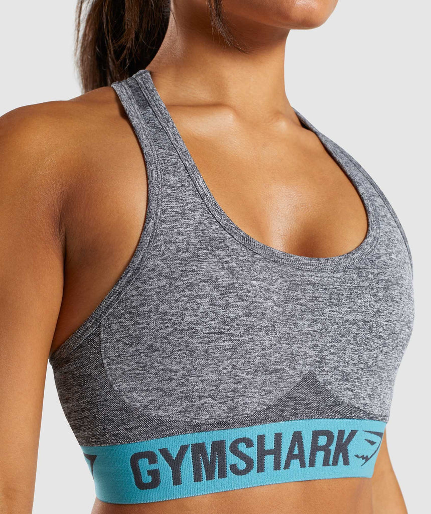 Gymshark Flex Sports Bra - Charcoal Marl/Dusky Teal 5