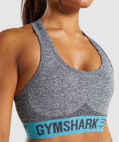 Gymshark Flex Sports Bra - Charcoal Marl/Dusky Teal 10