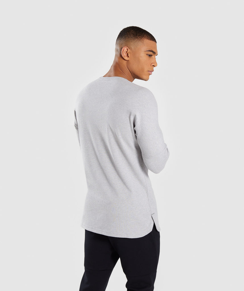 Gymshark Fresh Long Sleeve T-Shirt - Light Grey Marl 2