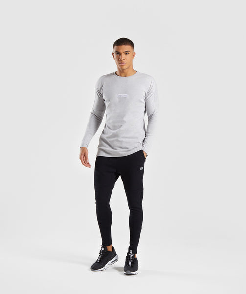 Gymshark Fresh Long Sleeve T-Shirt - Light Grey Marl 3
