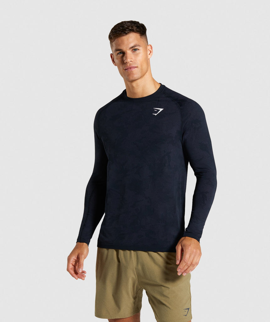 Gymshark Geo Lightweight Seamless Long Sleeve T-Shirt - Black 1