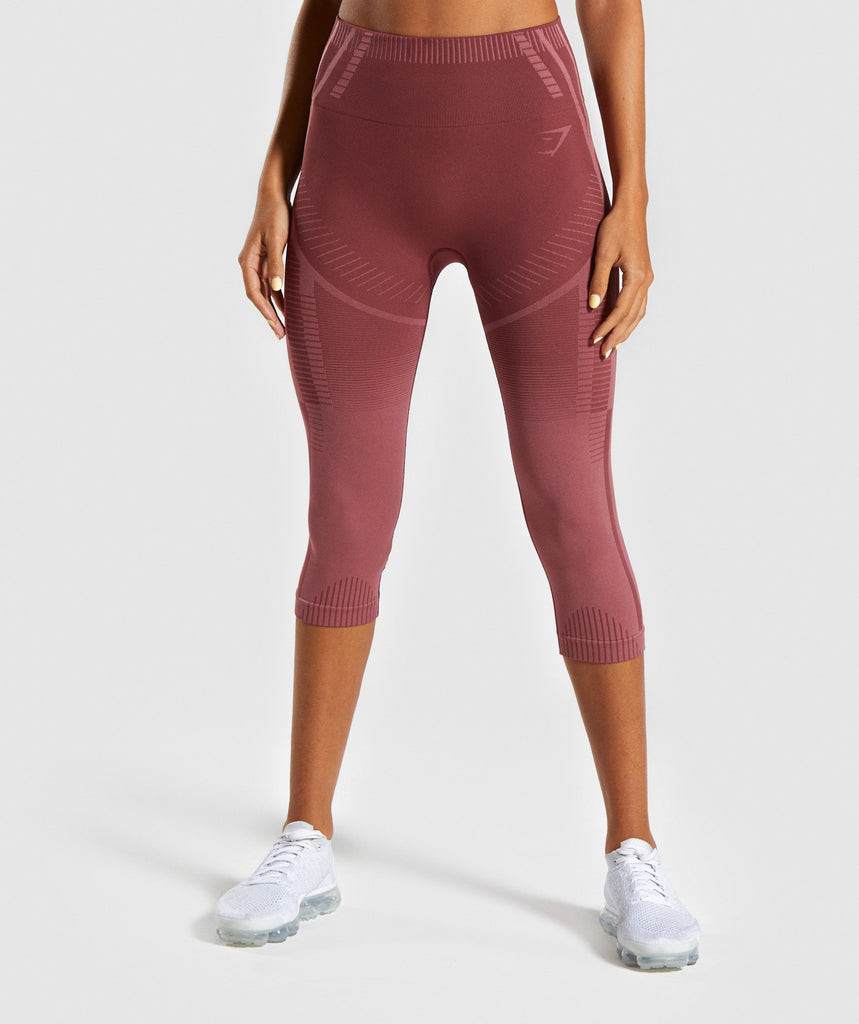 Gymshark Geo Seamless Cropped Leggings - Rose 1