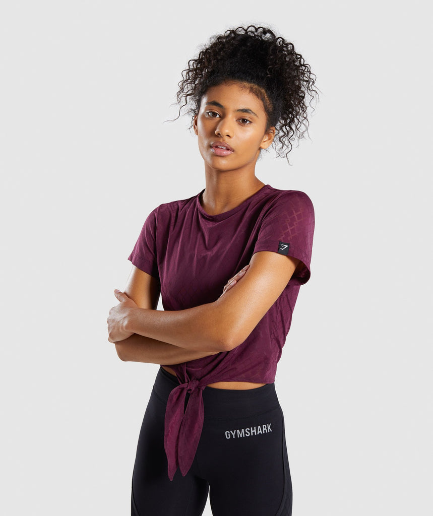 Gymshark Geo Mesh Two In One Top - Dark Ruby 1