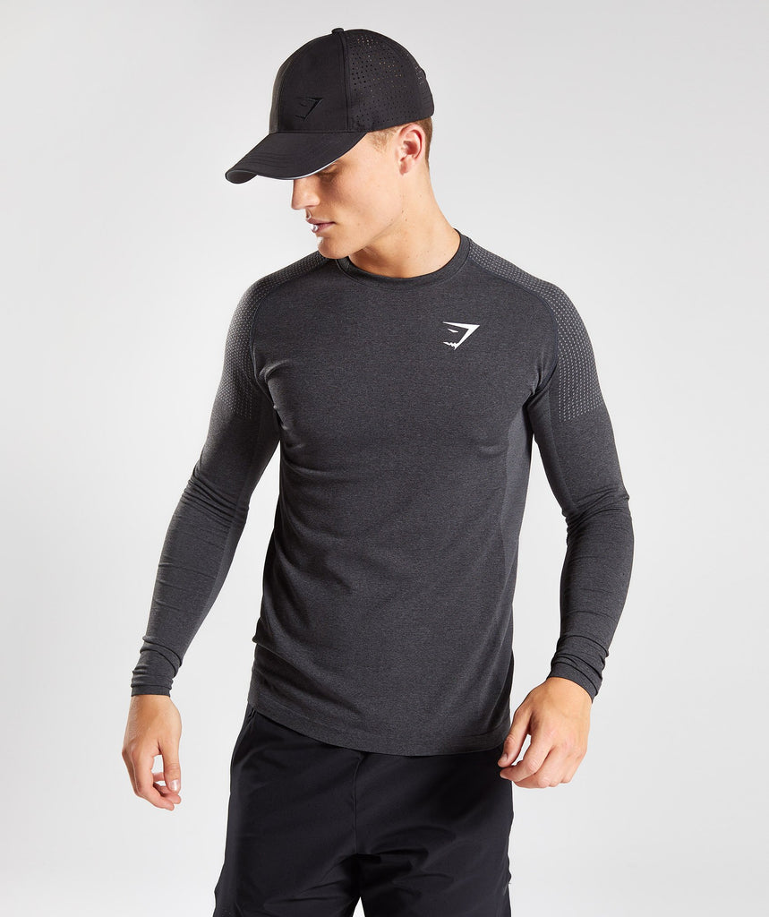 Gymshark Ghost Long Sleeve T-Shirt - Black Marl 1
