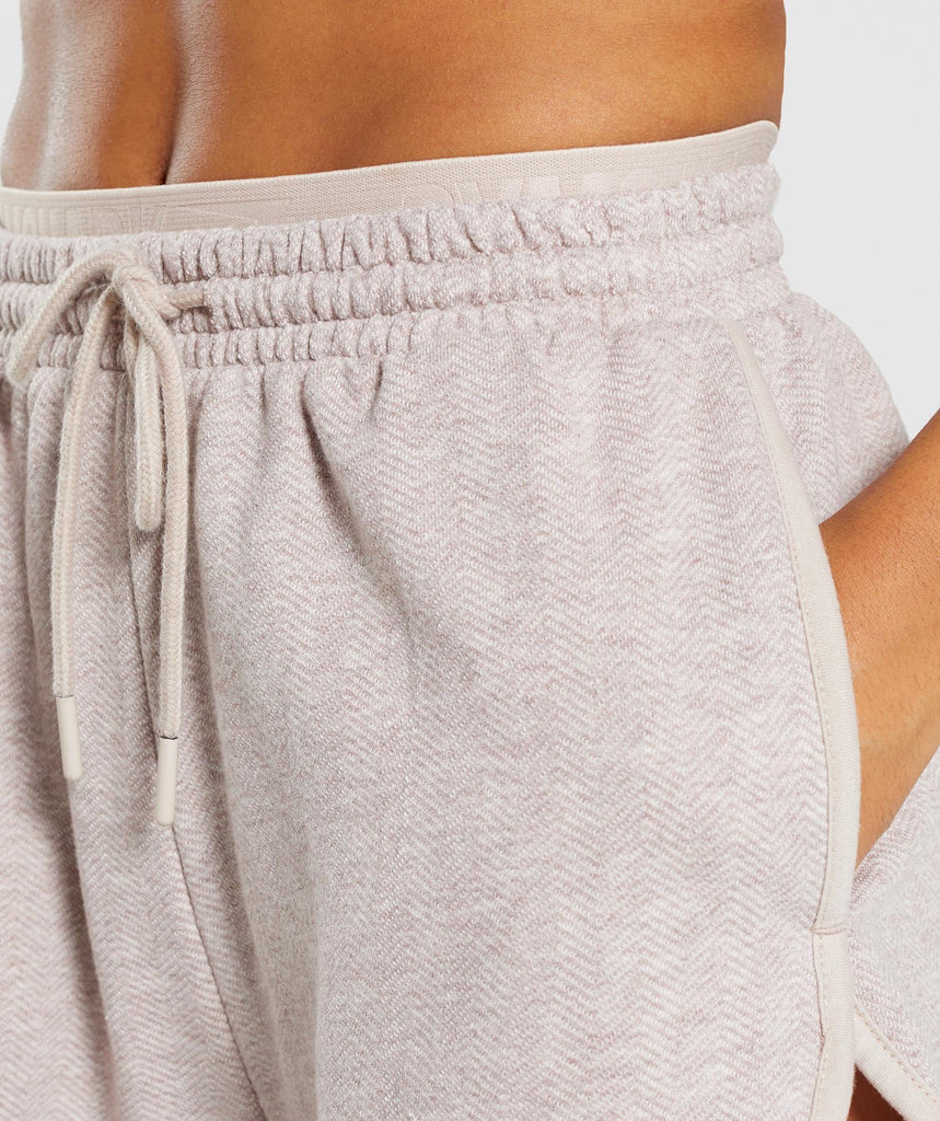 Gymshark Heather Dual Band Shorts - Blush Nude Marl 5