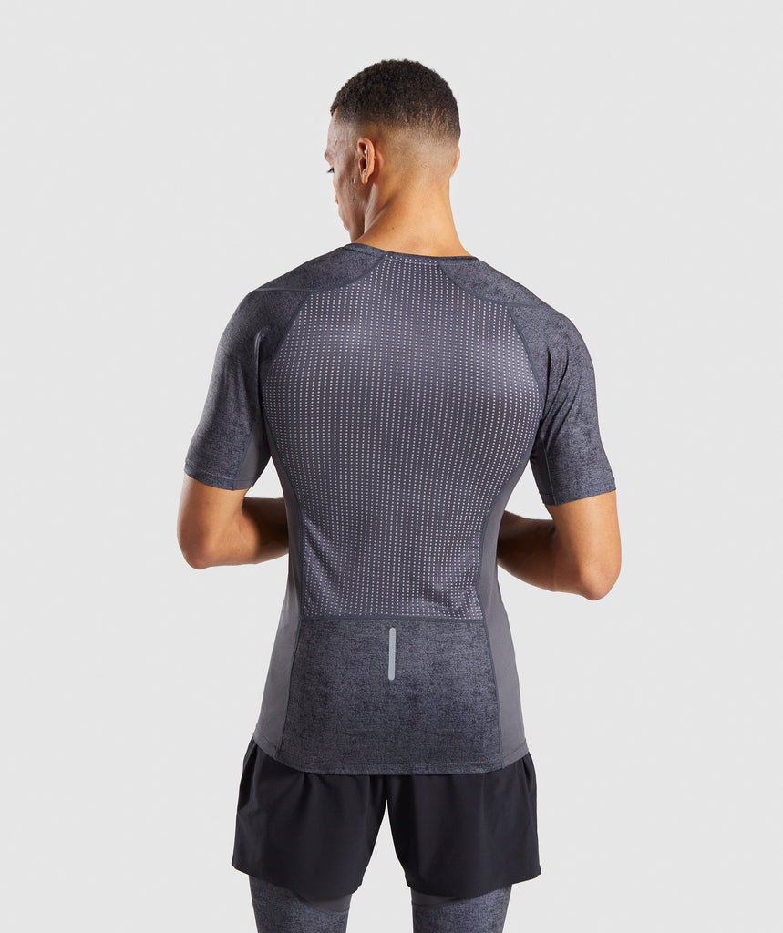 Gymshark Hybrid Baselayer Top - Charcoal Marl 1