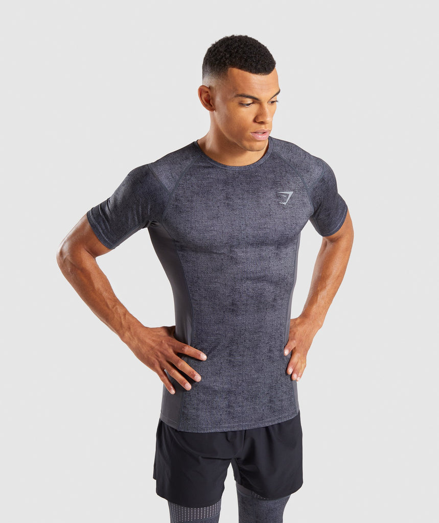 Gymshark Hybrid Baselayer Top - Charcoal Marl 2
