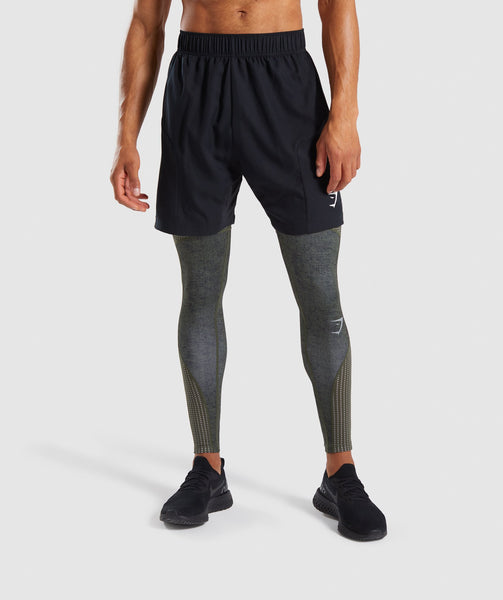 Gymshark Hybrid Baselayer Leggings - Woodland Green Marl 2