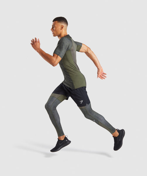 Gymshark Hybrid Baselayer Leggings - Woodland Green Marl 3
