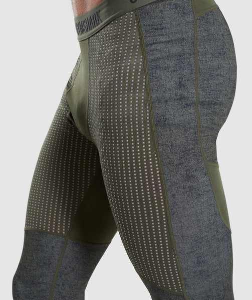 Gymshark Hybrid Baselayer Leggings - Woodland Green Marl 4