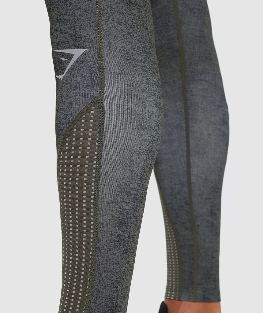 Gymshark Hybrid Baselayer Leggings - Woodland Green Marl 6