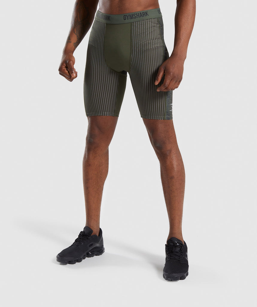 Gymshark Hybrid Baselayer Shorts - Woodland Green Marl 1
