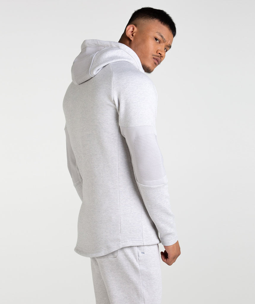 Gymshark Ozone Zip Up Hoodie - Light Grey Marl 2