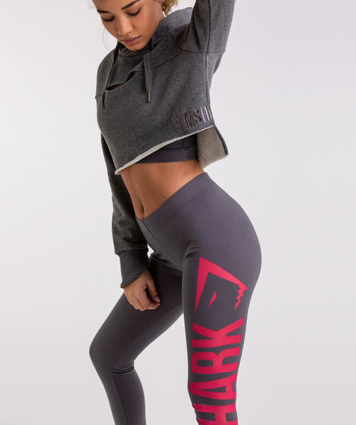 Gymshark Burnout Leggings - Charcoal/Cranberry 2