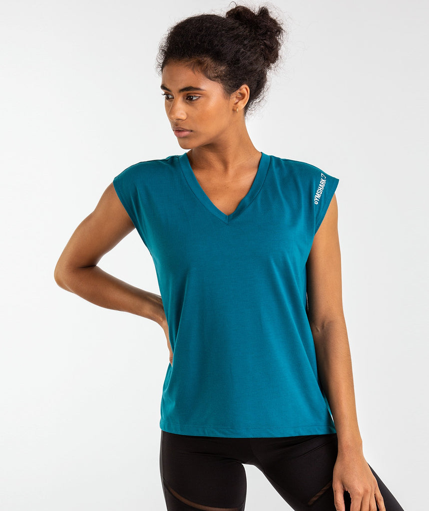 Gymshark Pleat Back Tee - Deep Teal 1
